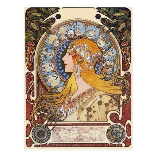 Postal de Nouveau del arte de Mucha - zodiaco - pe