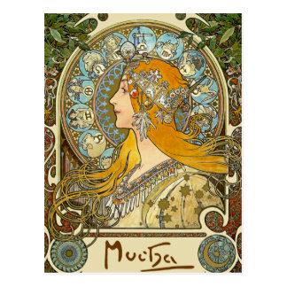 Postal de Nouveau del arte de Mucha - zodiaco -