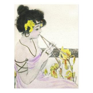 Postal de Nouveau del arte del jugador de flauta
