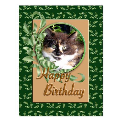 Postal de ojos verdes del cumpleaños del gatito de