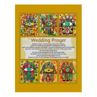 Postal de oro de Hamsa del rezo del boda judío