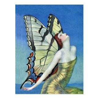 Postal de oro de la hada de la mariposa