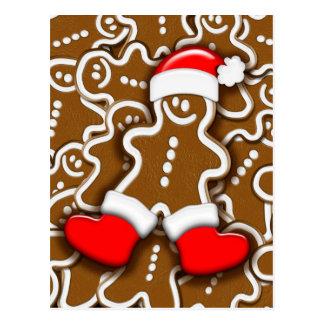 Postal de Papá Noel del pan de jengibre del navida
