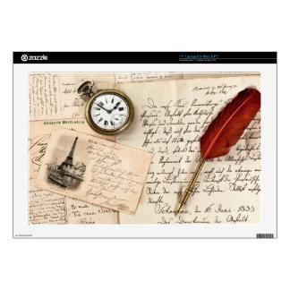 Postal de papel vieja del sello de la escritura portátil skins