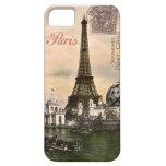 Postal de París del estilo del vintage en el caso  iPhone 5 Case-Mate Cárcasa