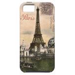 Postal de París del estilo del vintage en el caso  iPhone 5 Cobertura