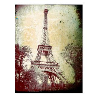 Postal de París del estilo del vintage, la torre