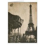 Postal de París del vintage, torre Eiffel Tarjeta