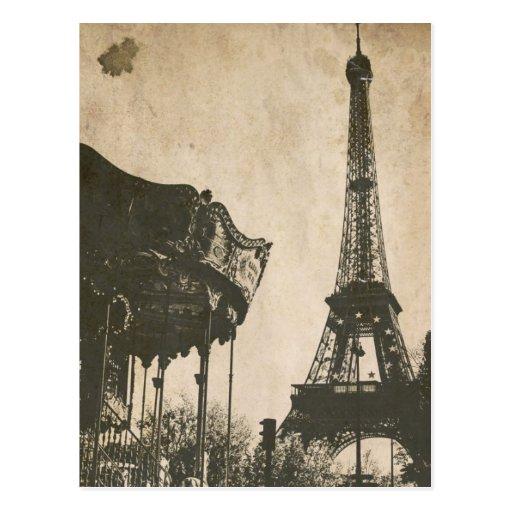 Postal de París del vintage, torre Eiffel