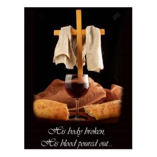 Postal de Pascua de la cruz y de la comunión