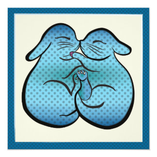 """Postal de Pascua de los conejitos - puntos azules Invitación 5.25"""" X 5.25"""""""