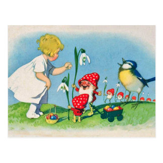 Postal de Pascua de los duendes de la seta