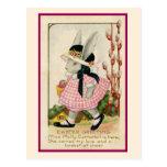 Postal de Pascua del chica de conejito