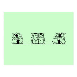 Postal de Pascua del consejo del conejito del vint