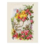 Postal de Pascua del vintage de los polluelos y de