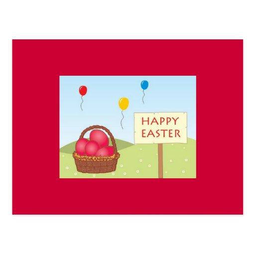 Postal de Pascua en rojo