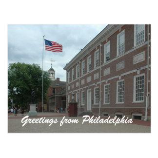 Postal de Pasillo de la independencia de Philadelp
