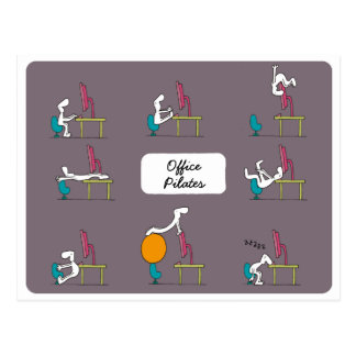 Postal de Pilates de la oficina, marrón