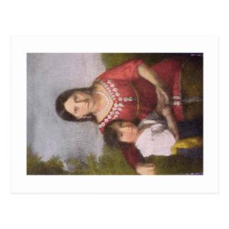 Postal de Pocahontas con su hijo