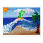 Postal de Raphael del ángel que practica surf