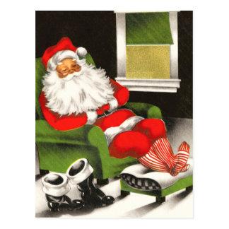 Postal de reclinación del día de fiesta de Santa