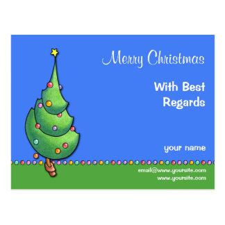 Postal de recuerdos del árbol de navidad blue2
