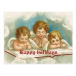 Postal de rogación linda de los ángeles del vintag