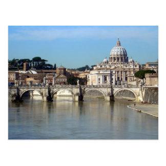 Postal de Roma (Tíber y San Pedro)