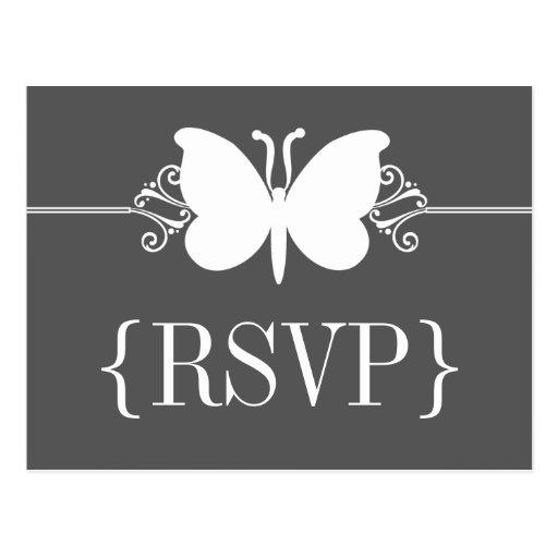 Postal de RSVP de los remolinos de la mariposa del