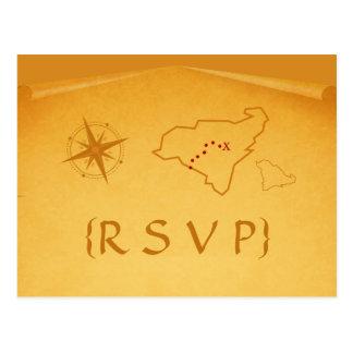 Postal de RSVP del mapa del tesoro