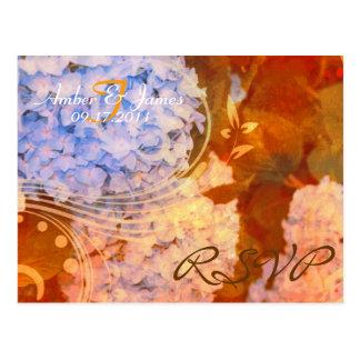 Postal de RSVP del otoño del Hydrangea