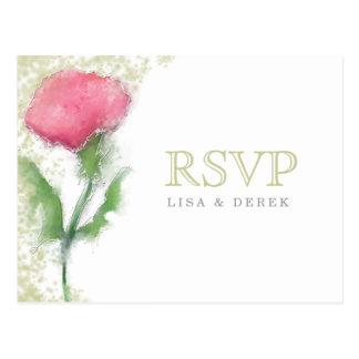 Postal de RSVP - flor rosada - selecciones de la