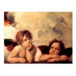 Postal de Sistine Madonna de las querubes de Rapha