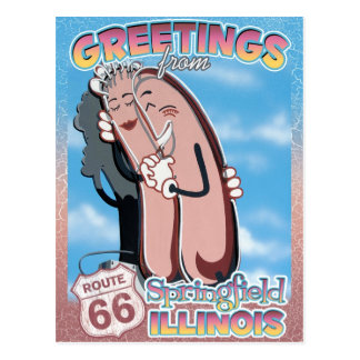 Postal de Springfield Illinois de los saludos de