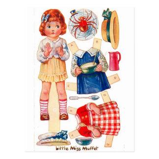 Postal de Srta. Muffet de Paperdoll del vintage