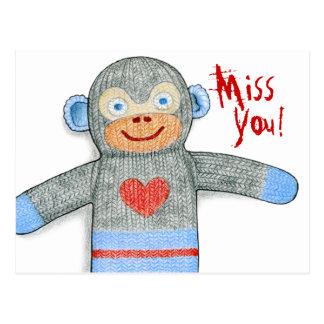 """Postal de """"Srta. You"""" del mono del calcetín"""