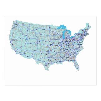 Postal de un estado a otro del mapa de Estados Uni
