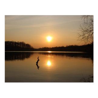 Postal de una puesta del sol hermosa de la orilla