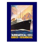 Postal de Venise del barco de cruceros del vintage