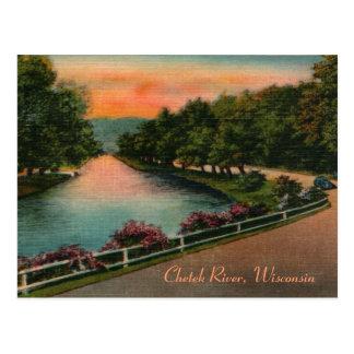 Postal de Wisconsin del río de Chetek del vintage