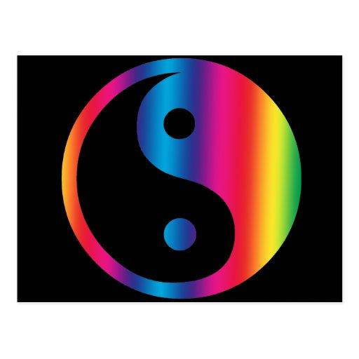 Postal de Yin Yang del arco iris