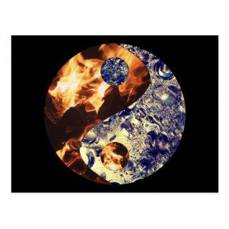 Postal de Yin Yang del fuego y del hielo