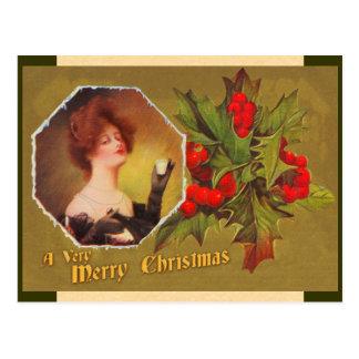 Postal del acebo del navidad del vintage