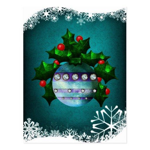 Postal del acebo y del ornamento del navidad