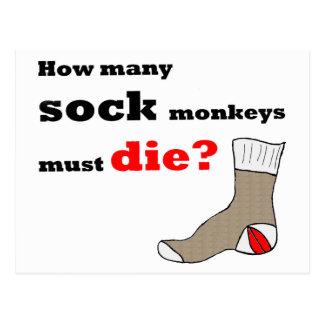 Postal del activista del mono del calcetín