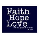 Postal del amor de la esperanza de la fe del vinta
