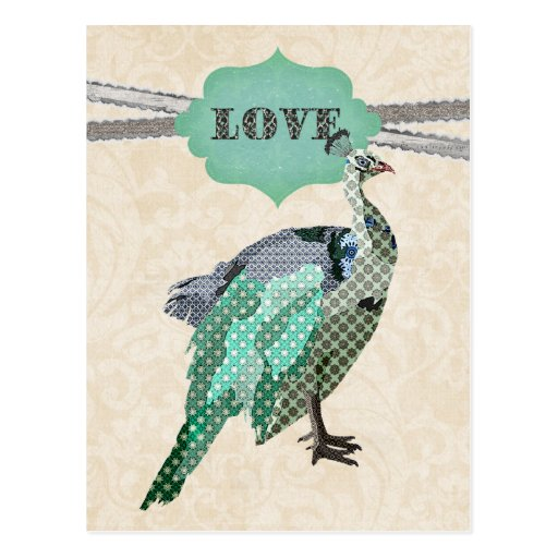 Postal del amor del pavo real   de Celeste