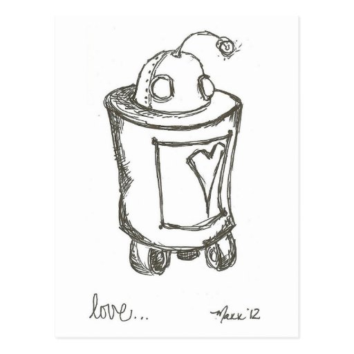 Postal del amor del robot de Lovebot