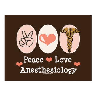 Postal del Anesthesiology del amor de la paz