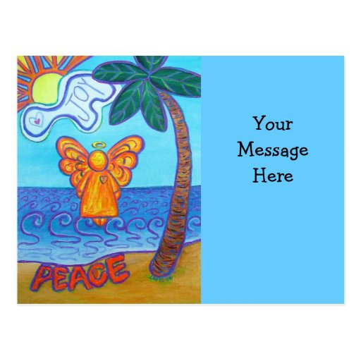 Postal del ángel de la playa con el mensaje